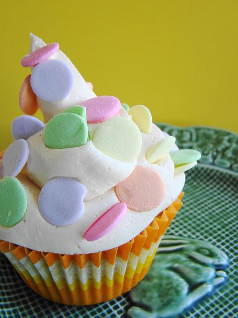 Ginger Mango Cupcake with Polka Dots