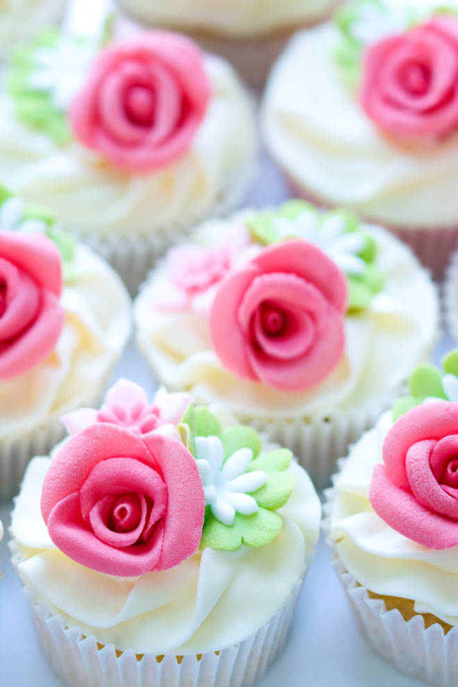 Pink And Green Wedding Cupcakes